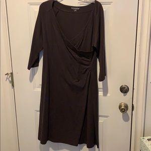 Soft Surroundings brown knit faux wrap bodice dres